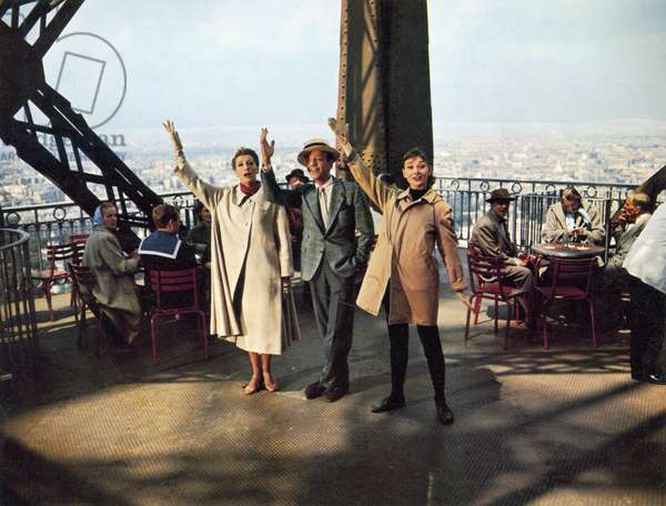 FILM: FUNNY FACE, 1957 From left: Kay Thompson, Fred Astaire and Audrey Hepburn on the Eiffel Tower in Paris in a scene from 'Funny Face,' 1957.