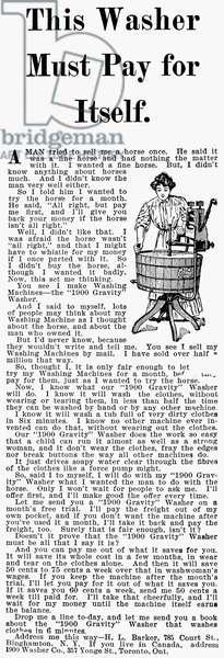 WASHING MACHINE AD, 1912 American advertisement, 1912.