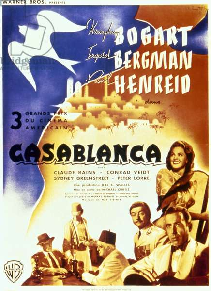 CASABLANCA, 1942 French poster, c.1947, for the American film 'Casablanca,' originally released in 1942.