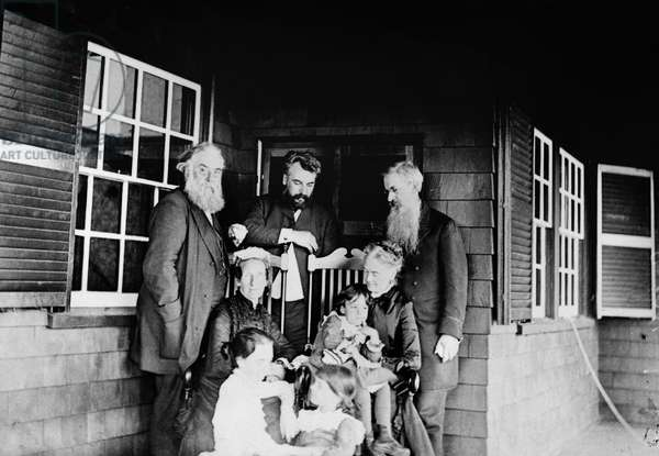 ALEXANDER GRAHAM BELL (1847-1922). American (Scottish-born) teacher and inventor. Photographed with his wife, daughters, Mr. and Mrs. Alexander Melville Bell, Mr. and Mrs. Gardiner Greene Hubbard on a porch at Manchester-by-the-Sea, Massachusetts, 1885.