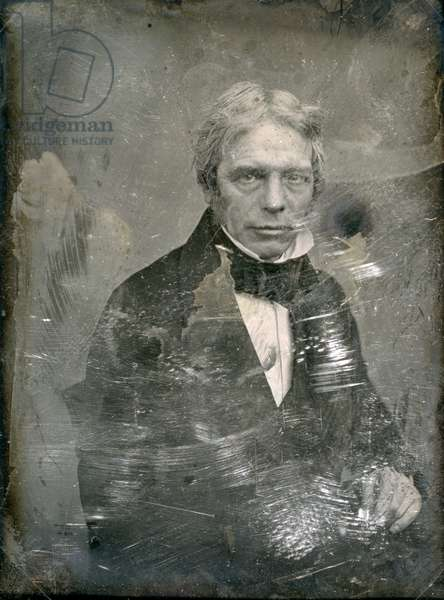 MICHAEL FARADAY (1791-1867) English chemist and physicist. Daguerreotype by Mathew Brady, c.1850.