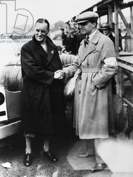 CARACCIOLA & CAMPBELL, 1930 German racecar driver Rudolf Caracciola (left) wishes English driver Malcolm Campbell good luck, before the Tourist Trophy race at Ards Circuit in Belfast, Ireland, 1930.