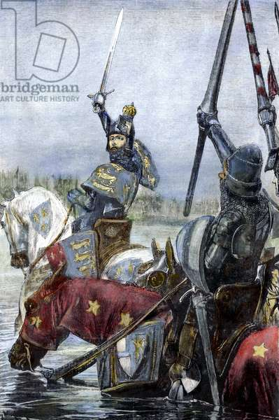 EDWARD III, 1346 King Edward III of England leading his cavalry across the Somme River in France during the Hundred Years' War, 25 August 1346. coloured  engraving, American, 19th century.