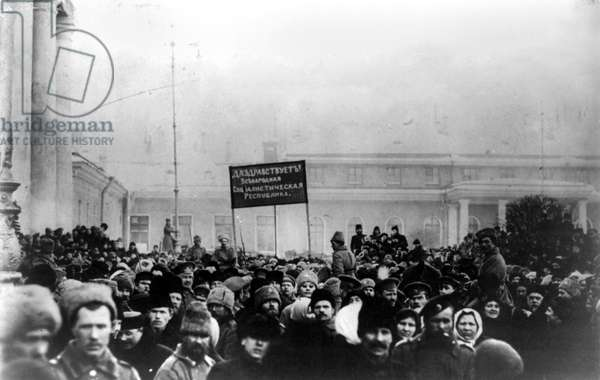RUSSIAN REVOLUTION, 1917 A mob of civilians and soldiers outside the State Duma in Saint Petersburg, during the Russian Revolution, 1917.