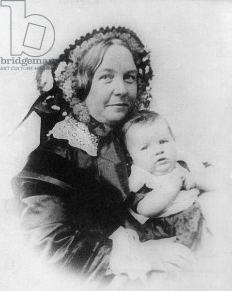 ELIZABETH CADY STANTON (1815-1902). American women's suffrage advocate. Photographed with her daughter, Harriot, c.1856.