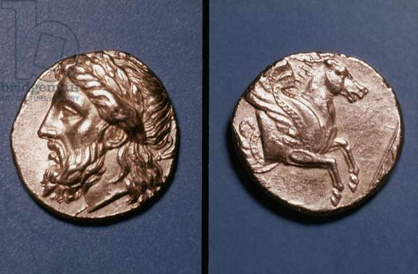 GREEK COIN: ZEUS Gold stater of Lampsacus, c350 B.C. Obv: head of Zeus; reverse: forepart of Pegasus.
