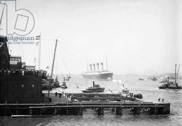 RMS OLYMPIC, 1911 The arrival of the RMS Olympic ocean liner in New York Harbor after her 1911 maiden voyage. The ship was built for the White Star Line, which also included Titanic and Britannic. Unlike her sisters, Olympic served a long and illustrious career (1911 to 1935), becoming known as 'Old Reliable.' Photograph, 21 June 1911.