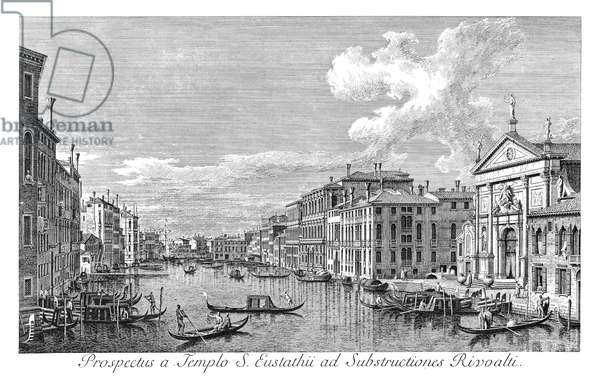 VENICE: GRAND CANAL, 1735 The Grand Canal in Venice, Italy, looking south-east from San Stae to the Fabbriche Nuove di Rialto. Engraving, 1735, by Antonio Visentini after Canaletto.