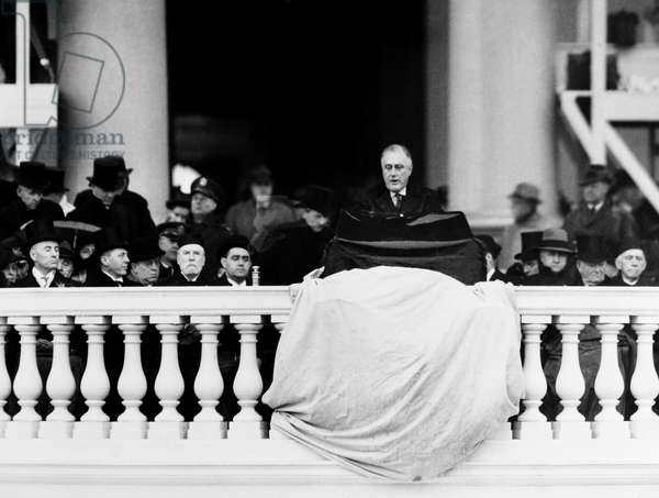 FRANKLIN D. ROOSEVELT (1882-1945). 32nd President of the United States. Roosevelt delivering his second inaugural address, 1936.