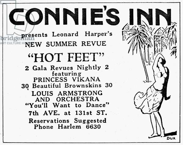 HARLEM REVUE POSTER, 1920s Advertisement for a musical review at Connie's Inn in Harlem, New York City, including a performance by Louis Armstrong, 1920s.
