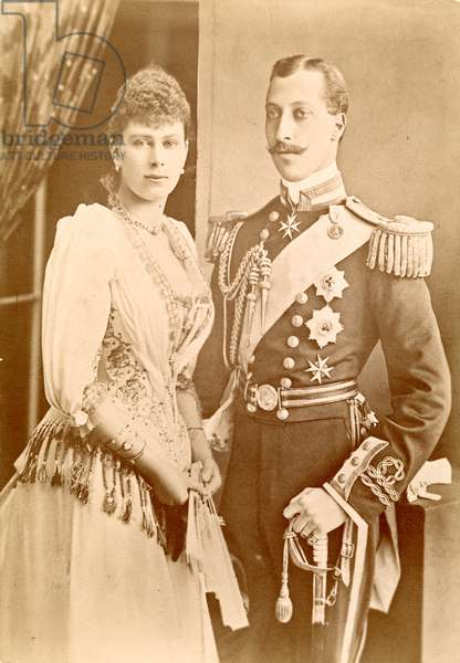 PRINCE ALBERT VICTOR (1864-1892). Duke of Clarence and Avondale. Eldest son of King Edward VII of England. Suspected by some to be the serial killer known as Jack the Ripper. Photographed with his fiancee, Princess Victoria Mary of Teck (later Queen Mary, consort of George V).