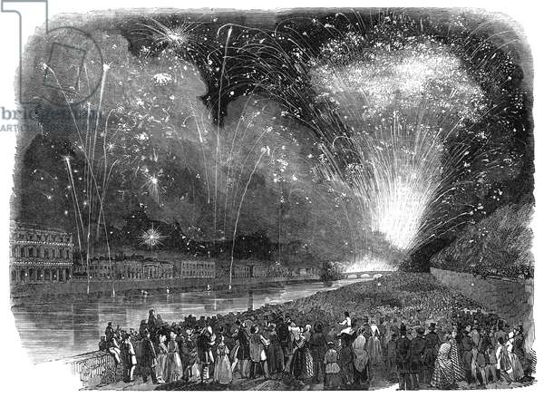FIREWORKS IN PARIS, 1847 Wood engraving, English.