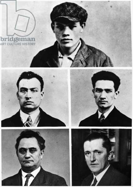 REICHSTAG FIRE: ACCUSED. The men accused of the Reichstag fire in 1933. Marinus van der Lubbe, Vassil Tanev, Blagoi Popov, Georgi Dimitrov, and Ernst Torgler. Photograph, 1933.