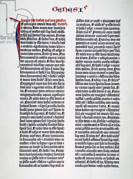 GUTENBERG BIBLE, 15th CENT The first page of Genesis from one of the forty-six existing copies of the Gutenberg Bible printed at Mainz, Germany, between 1450 and 1456.