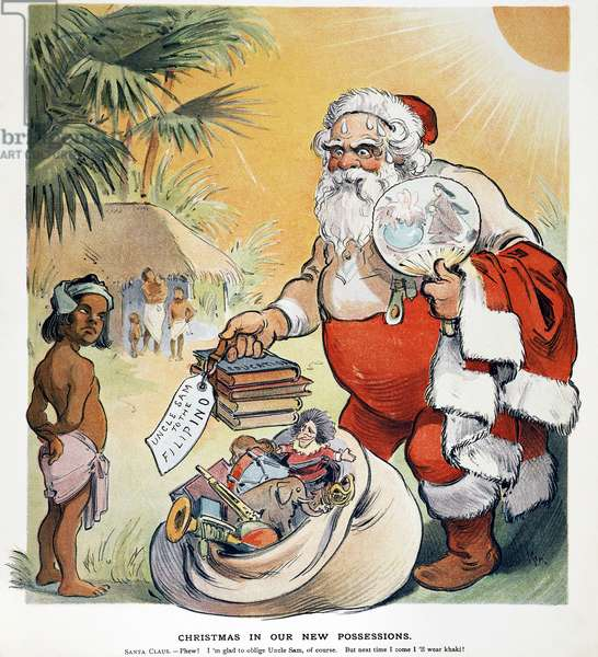 PHILIPPINE CARTOON, 1902 An American cartoon of 1902 depicting an overheated Uncle Sam bringing gifts to a dubious Philippine islander.