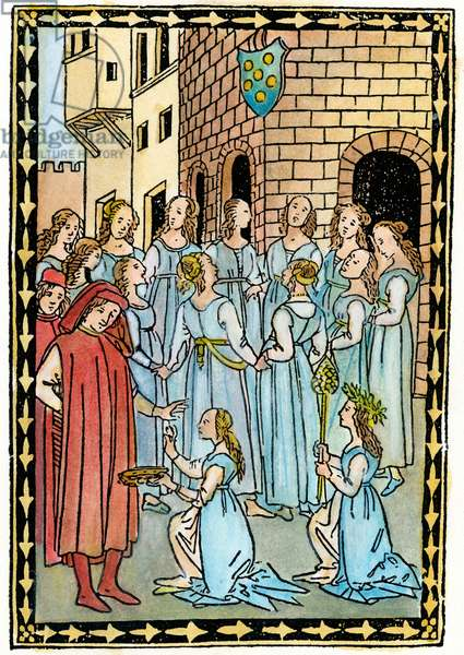 MEDICI ARMS, c.1496 A ring of dancing girls before the cornice of a building with the Medici arms. Woodcut from 'Ballatette,' by Lorenzo de' Medici, Politiano, et al, Florence, c.1496.