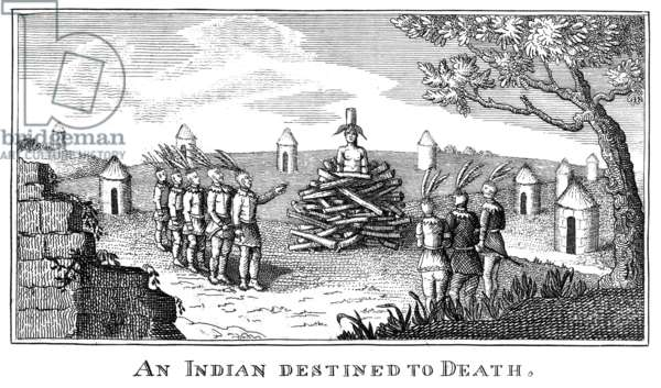 NATIVE AMERICAN PUNISHMENT Native Americans preparing to burn another at the stake. Copper engraving from William Fisher's 'An Interesting Account of the Voyages and Travels of Captains Lewis and Clarke,' Baltimore, 1813.