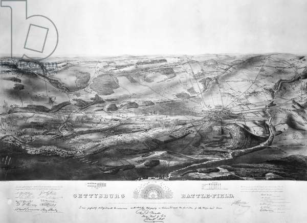 CIVIL WAR: GETTYSBURG Plan of the Battle of Gettysburg, 1-3 July 1863. Lithograph, 1863, by Endicott & Co.