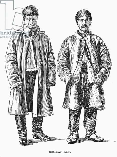 ROMANIAN IMMIGRANTS, 1892 Sketch done at the original immigrant building at Ellis Island, New York. Wood engraving, American, 1892.