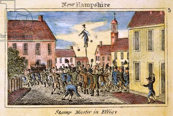 STAMP ACT: PROTEST, 1765 A New Hampshire stamp agent hanged in effigy during an anti-Stamp Act demonstration in 1765: coloured  engraving, 1829.