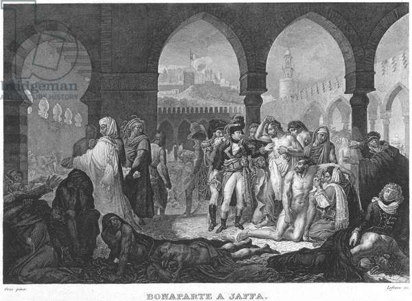 NAPOLEON AT JAFFA, 1799 'Napoleon Visiting the Plague Stricken at Jaffa.' Steel engraving after the painting, 1804, by Baron Antoine-Jean Gros.