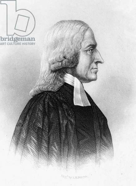 JOHN WESLEY (1703-1791) English theologian and founder of Methodism. Line and stipple engraving, American, 19th century.