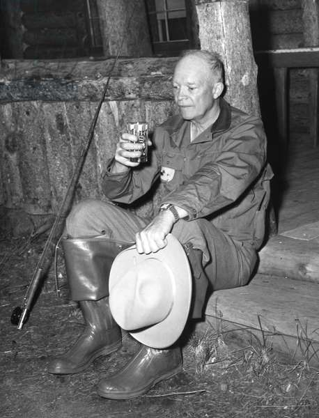 DWIGHT D. EISENHOWER (1890-1969). 34th President of the United States. Eisenhower with his fishing gear, mid 20th century.