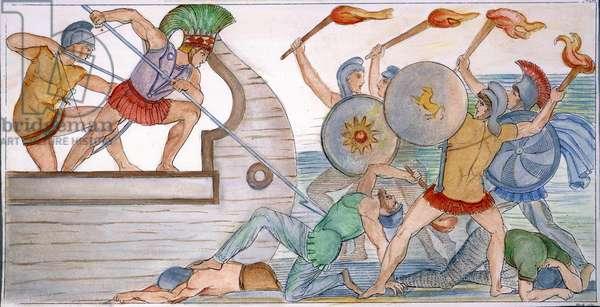 HOMER: THE ILIAD Ajax defending the Greek ships against the Trojans. Line engraving, 1793, by Thomas Piroli after John Flaxman.