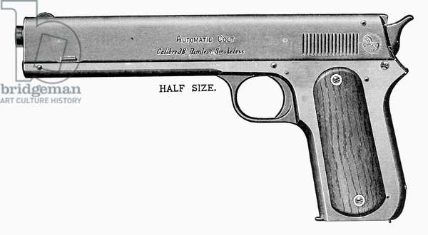 COLT AUTOMATIC PISTOL Line engraving, early 19th century.