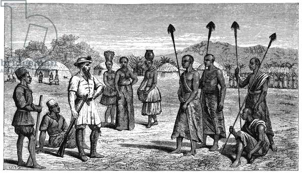 SAMUEL WHITE BAKER (1821-1893). English explorer. Meeting with tribal chiefs in Unyoro (region in present-day western Uganda), c.1864. Wood engraving, English, 1866.