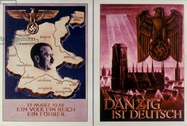 WWII: GERMAN POSTERS, 1938 German World War II posters of (left) Anschluss in 1938 and (right) Danzig annexation in 1939.