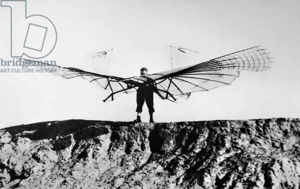OTTO LILIENTHAL (1848-1896). Otto Lilienthal on a hill before flying one of his gliders, Germany, 1894.