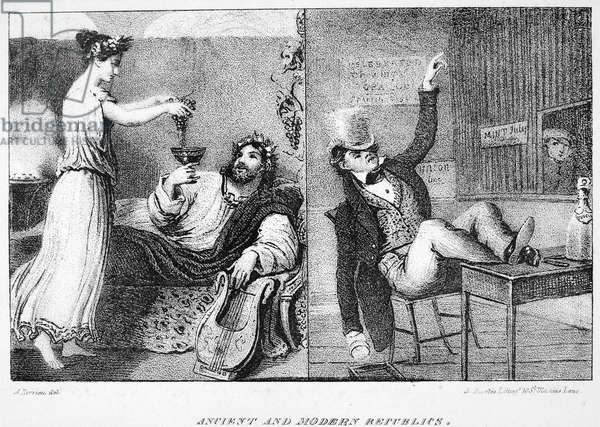 ANCIENT & MODERN REPUBLICS Lithograph illustration, 1832, from the first American edition of Mrs. Frances Trollope's 'Domestic Manners of the Americans.'