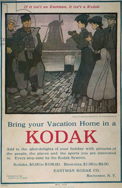 EASTMAN KODAK AD, 1905 'Bring Your Vacation Home in a Kodak.' Lithograph advertisement, by Edward Penfield, for the cameras of Eastman Kodak, from an American magazine of 1905.