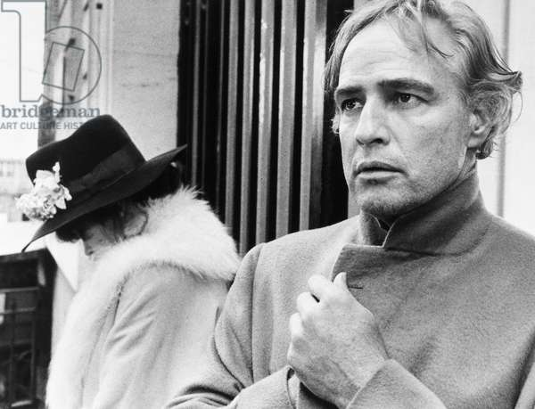 MARLON BRANDO (1924-2004) American actor. In a scene from the film 'Last Tango in Paris,' directed by Bernardo Bertolucci, 1973.