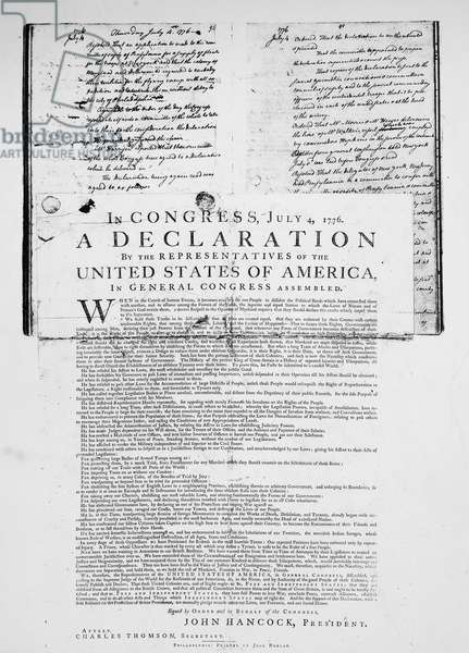 DECLARATION OF INDEPENDENCE The first printing of the Declaration of Independence as inserted in the Rough Journal of Congress.