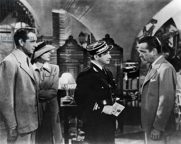 FILM: CASABLANCA, 1942 From left: Paul Henreid, Ingrid Bergman, Claude Rains and Humphrey Bogart at Rick's Café in 'Casablanca' directed by Michael Curtiz, 1942.