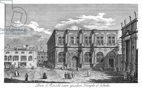 VENICE: SAN ROCCO, 1735 Scuola di San Rocco in Venice, Italy, one of the great Guilds of Venice. Engraving, 1735, by Antonio Visentini after Canaletto.