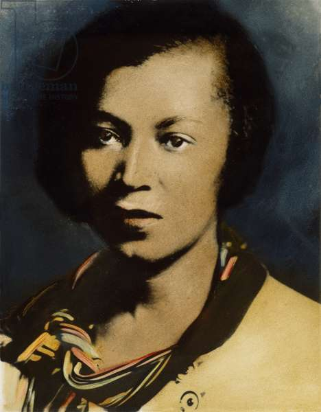 ZORA NEALE HURSTON (1903?-1960). American writer and anthropologist. Oil over a photograph, n.d.