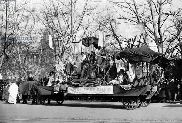 SUFFRAGE PARADE, 1913 'Women of the Bible Lands.' Float at the women's suffrage parade at Washington, D.C., 3 March 1913.