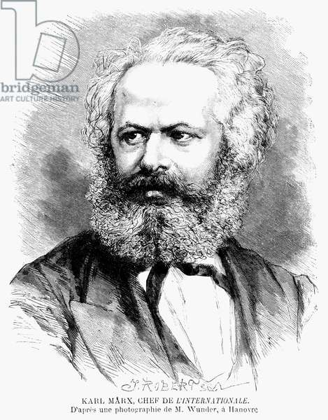 KARL MARX (1818-1883). German political philosopher. Wood engraving, French, 1871.