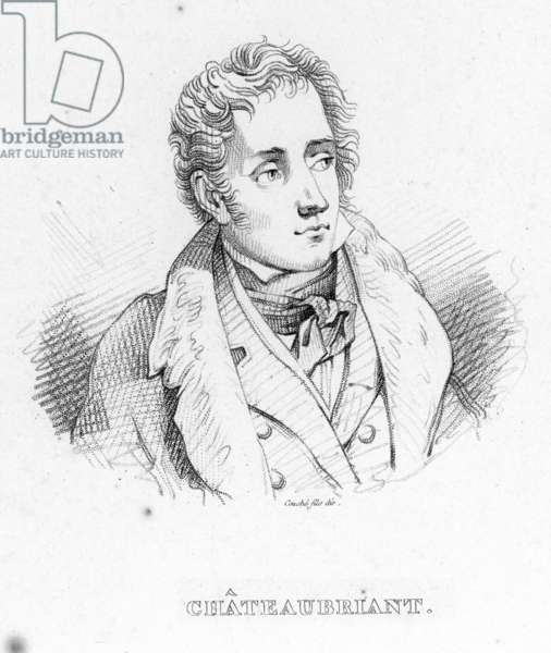 FRANCOIS CHATEAUBRIAND (1768-1848). French writer and statesman. Stipple engraving, 19th century.