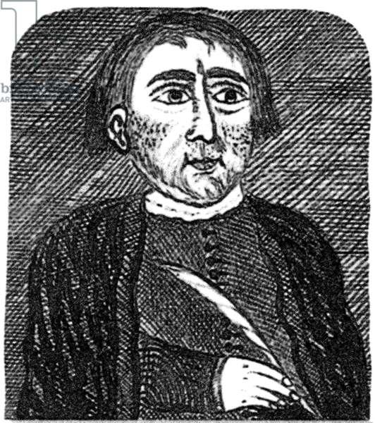 NICHOLAS FLAMEL ( c.1330-1418?) French alchemist. Woodcut, n.d.