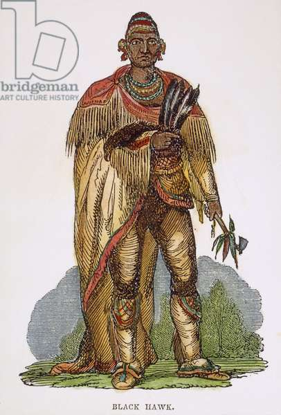 BLACK HAWK (1767-1838) Native American Sauk leader. Wood engraving, 19th century.