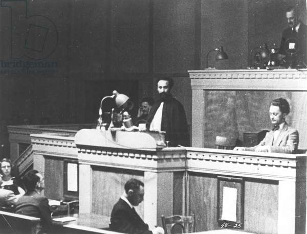 HAILE SELASSIE (1892-1975) Emperor of Ethiopia, 1930-1974. Pleading his cause at the League of Nations in Geneva in 1936 following the Italian invasion of Ethiopia.
