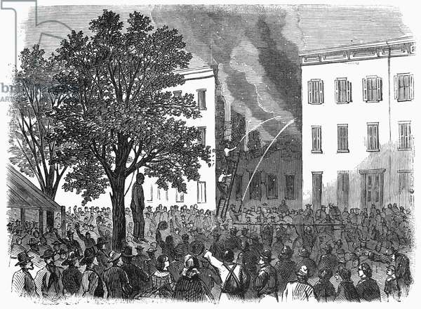 NEW YORK: DRAFT RIOTS The mob lynching a black man on 32nd Street between 6th and 7th Avenues during the New York City Draft Riots of 13-16 July 1863. Wood engraving from a contemporary German-language American newspaper.