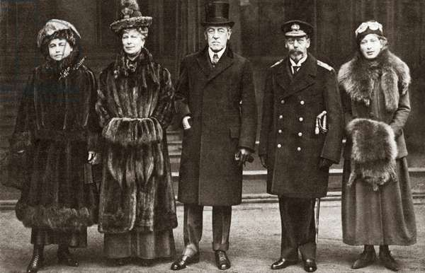 WORLD WAR I: LONDON, c.1919 President Wilson and his wife photographed with King George, Queen Mary and Princess Mary in Buckingham Palace, London, England. Photograph, 1918.