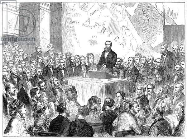 SAMUEL WHITE BAKER (1821-1893). English explorer. Sir Samuel's lecture before the Royal Geographical Society at London, 1873. Wood engraving from a contemporary English newspaper.