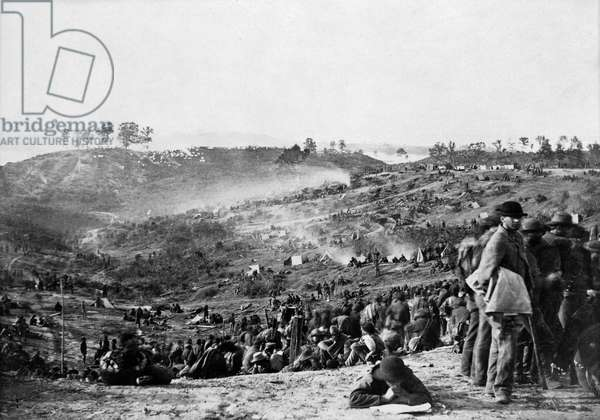 CIVIL WAR: PRISONERS, 1864 Confederate prisoners at a Union Army camp at Belle Plain Landing, Virginia. Captured with Edward Johnson's Division at the Battle of Spotsylvania, 12 May 1864.
