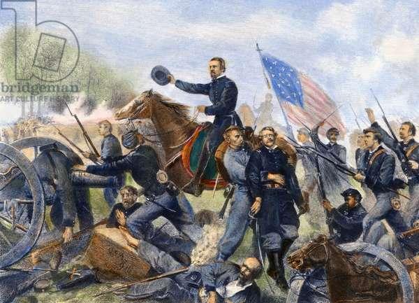 BATTLE OF SPOTSYLVANIA The Battle of Spotsylvania, 12 May 1864. Steel engraving, 1867.